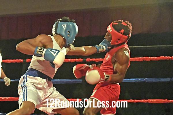 Bout 9 Jibreel Hawkins, Blue Gloves, Akron BA,  Akron -vs- Ronnell Johnson, Red Gloves, Team Johnson, Columbus, 123 Lbs