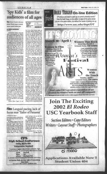 Daily Trojan, Vol. 142, No. 47, March 29, 2001