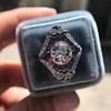 2.27ct (est) Art Deco Old European Cut Diamond with Amethyst Halo Ring 12
