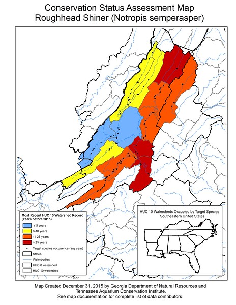 Conservation Status Assessment Map for Roughhead Shiner (Notropis semperasper)
