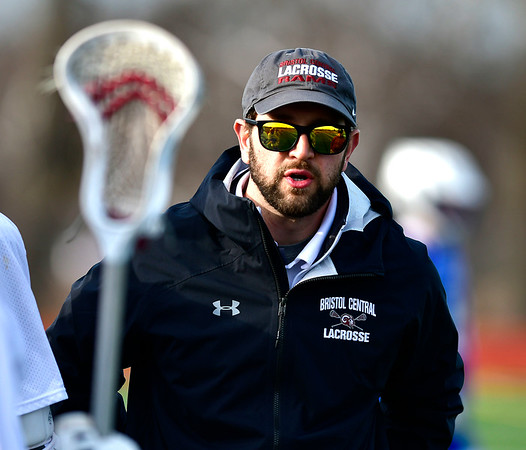 4/4/2019 Mike Orazzi | Staff Bristol Central's Michael Gissas during Thursday's boys lacrosse with West Haven in Bristol.