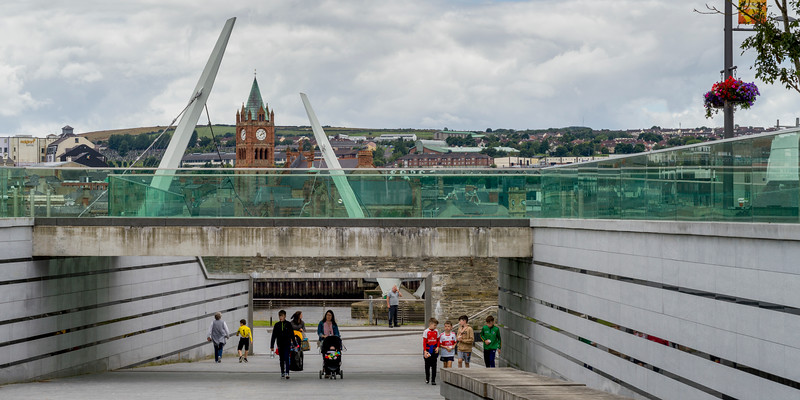 Tourists at The Peace Bridge, Londonderry, Northern Ireland, United Kingdom