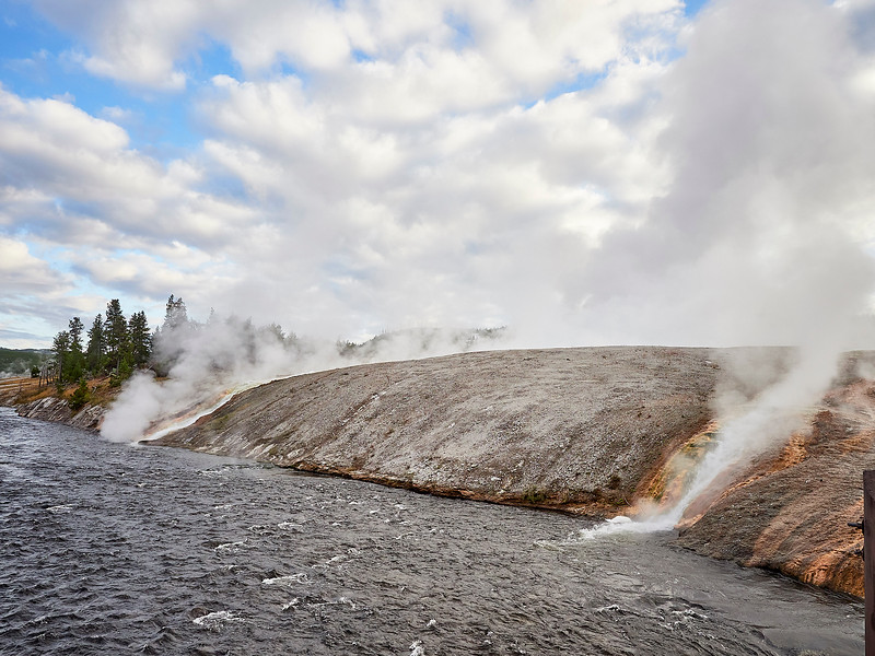 Steaming hot water from the giant prismatic spring