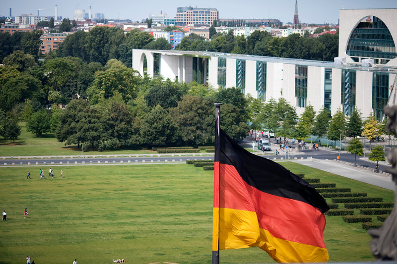 View from the Reichstag terrace with the German Chancellery to the right, Berlin, Germany