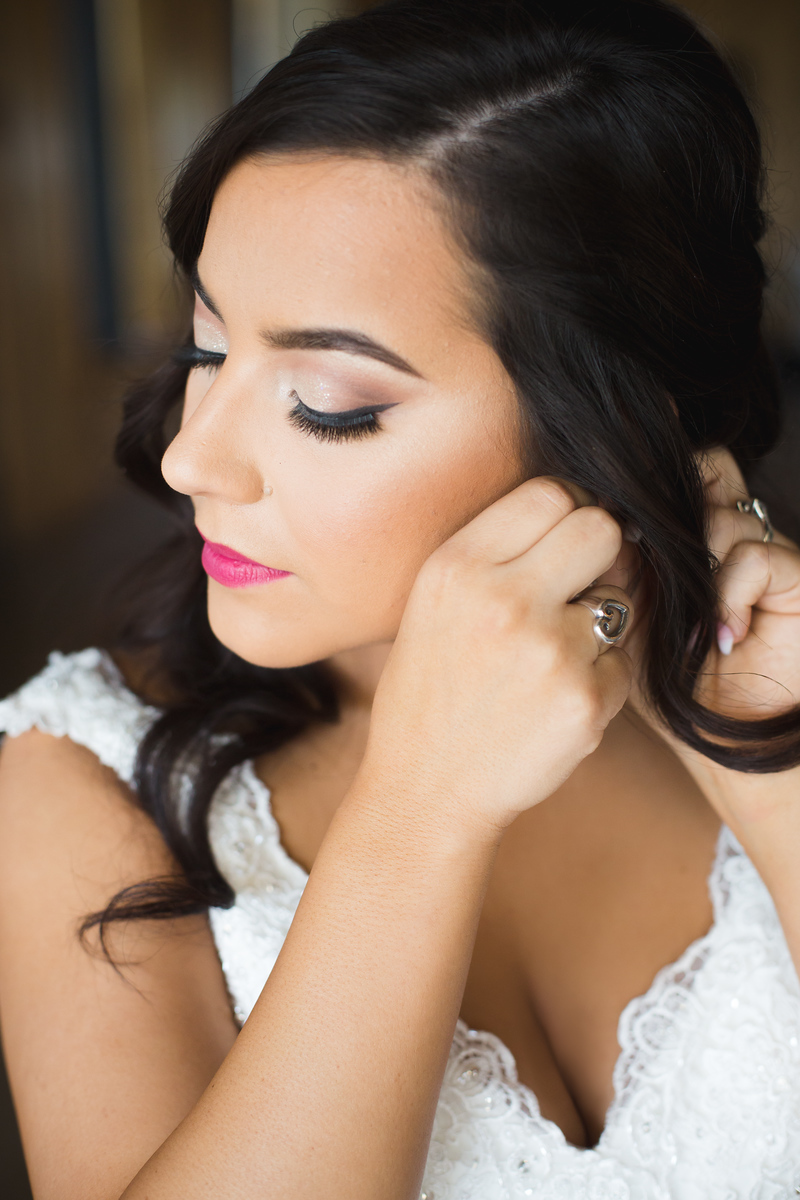 Close up shot of bride before wedding