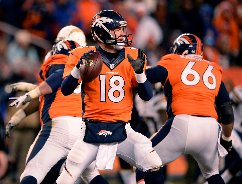 . Denver Broncos quarterback Peyton Manning (18) during the fourth quarter. The Denver Broncos vs. The San Diego Chargers in an AFC Divisional Playoff game at Sports Authority Field at Mile High in Denver on January 12, 2014. (Photo by John Leyba/The Denver Post)