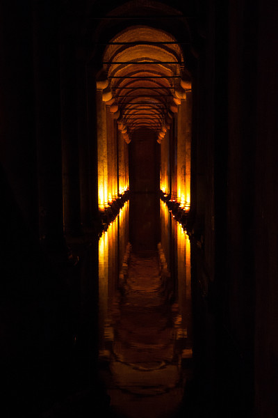 The ancient underground Basilica Cistern. This was the main water storage from the roman times