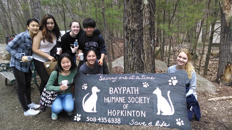 Volunteering to clean up at the Baypath Humane Society