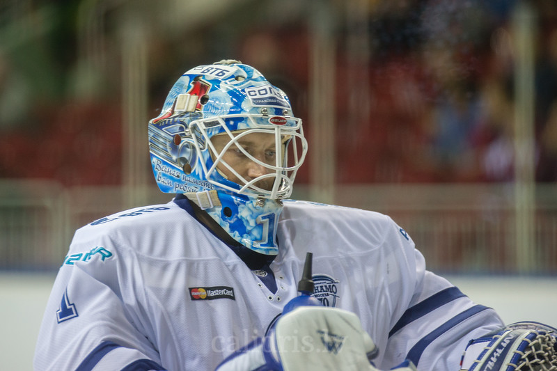 Goalie Alexander Yeryomenko (1) in the KHL regular championship game between Dinamo Riga and Dynamo Moscow, played on October 3, 2016 in Arena Riga