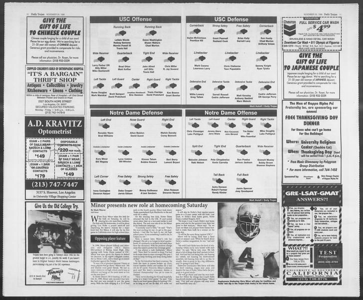Daily Trojan, Vol. 129, No. 62, November 26, 1996