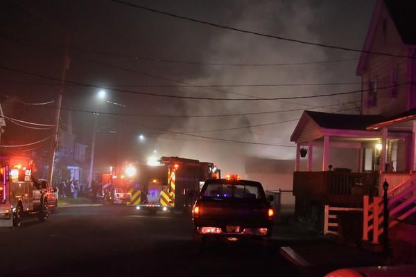 Foster Twp 134 working garage fire Adams st.
