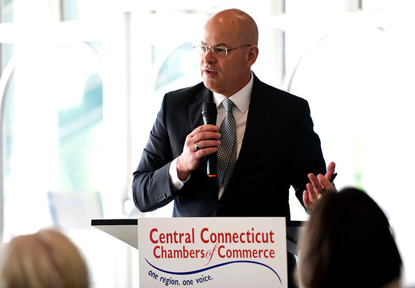 6/12/2019 Mike Orazzi | Staff Bristol Hospital President and CEO Kurt Barwis during Wednesday morning's state of the city & towns breakfast hosted by the Central Connecticut Chambers of Commerce at Chippanee Golf Club in Bristol.