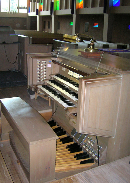 """My """"axe"""" at work - First Presbyterian Church of Vallejo, CA. It's a Moeller, Opus 4576, built in 1955. Only 13 ranks, but it kicks butt with the best of them, thanks to the incredible acoustics and the 5-second reverberation time in the stone, wood and glass sanctuary."""