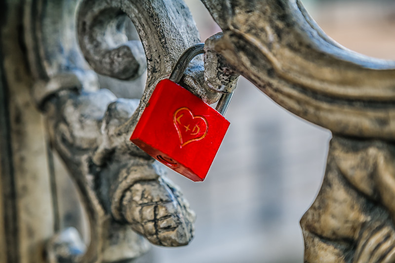 Lovers Lock Bridge in Paris, France