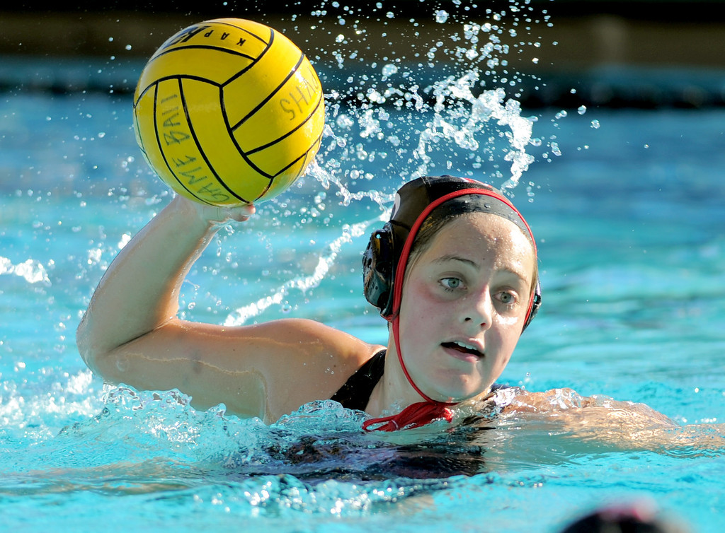 . 02-16-2012--(LANG Staff Photo by Sean Hiller)- Palos Verdes girls water polo defeated Upland 10-8 in Saturday\'s CIF Southern Section Division III quarterfinal at Palos Verdes High School. PV\'s Kate Roan looks to pass.