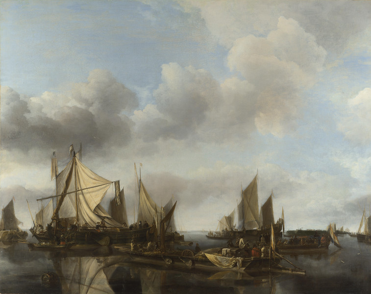 A River Scene with a Large Ferry