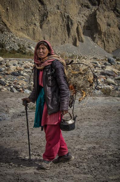 Shimshal Femaler Herder Returning From High Pasture