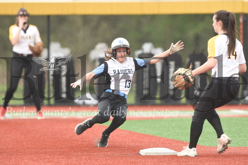 Seneca's Julia Ehrman slides in to second during Tuesday's come-from-behind win over North Allegheny.
