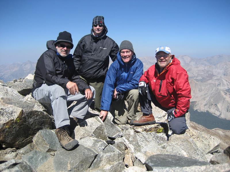 walt stinson, john banks, john flanner, ford montgomery at summit of mt yale