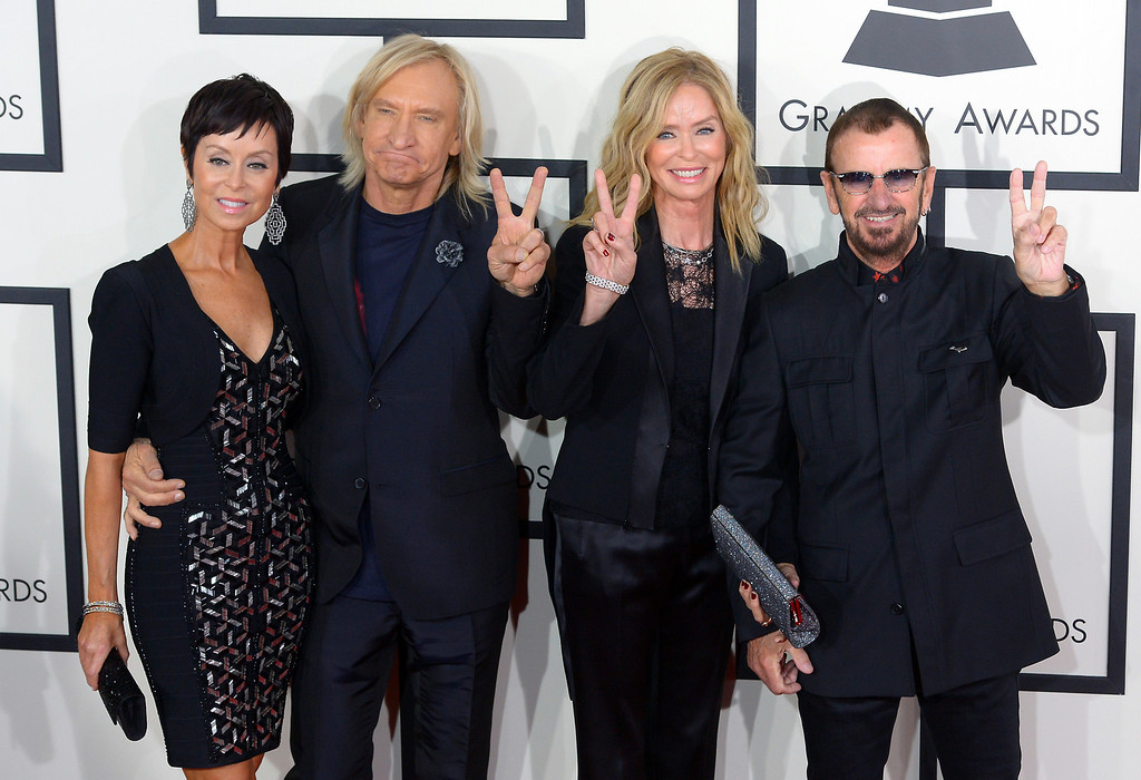 . Marjorie Bach, Joe Walsh, Barbara Bach and Ringo Starr arrive at the 56th Annual GRAMMY Awards at Staples Center in Los Angeles, California on Sunday January 26, 2014 (Photo by David Crane / Los Angeles Daily News)