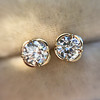 .74ctw Transitional Cut Diamond Earrings, Yellow Gold 1