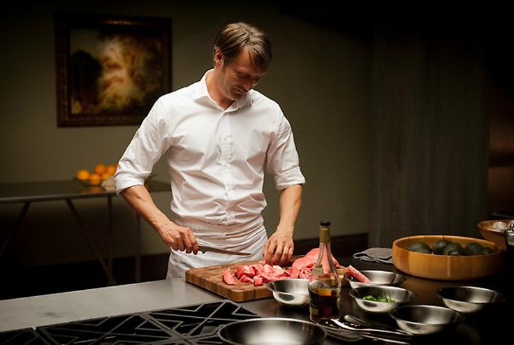 Description of . Hannibal Lecter (Mads Mikkelsen) prepares for a dinner party, but what is he serving his guests? Photo: NBC