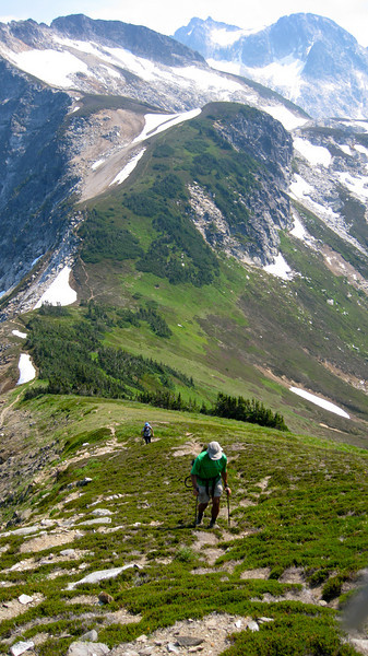 Heading up Liberty Cap on High Pass trail.