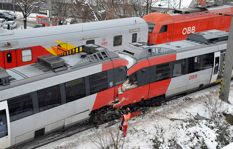 . The driver\'s cabins are seen destroyed after two regional trains crashed head on in Vienna, Austria, Monday, Jan. 21, 2013. Several  people were injured. (AP Photo/dapd, Hans Punz)