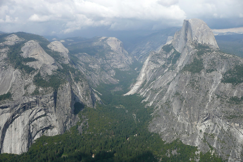 Half Dome and Upper Yosemite Fall seen from Glacier Point. Yosemite NP