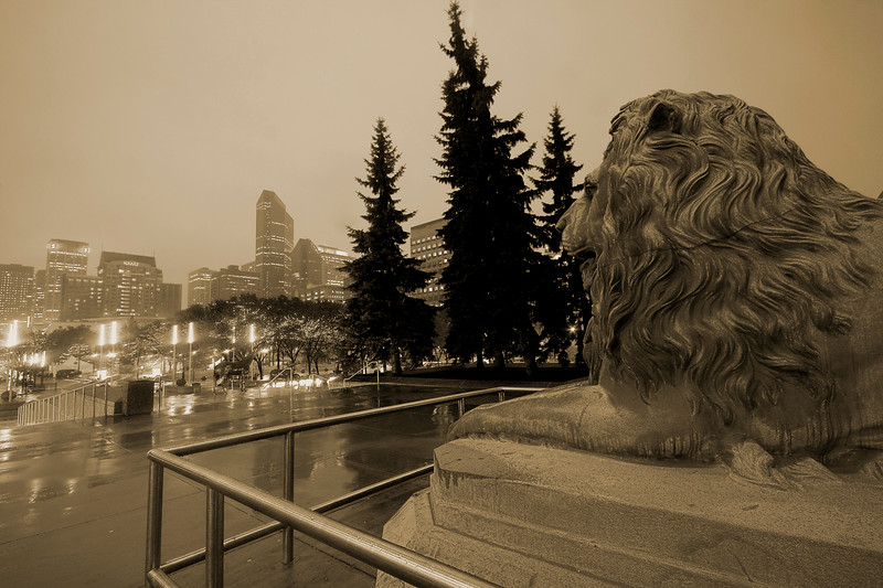 Lion statue in front of the Calgary Municipal Building (monochromed)