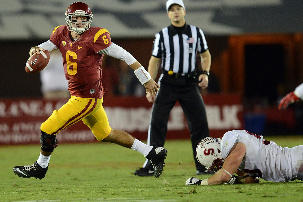 . USC�s Cody Kessler #6 looks to pass during their game against Stanford at the Los Angeles Memorial Coliseum Saturday, November 16, 2013. USC beat Stanford 20-17. (Photos by Hans Gutknecht/Los Angeles Daily News)