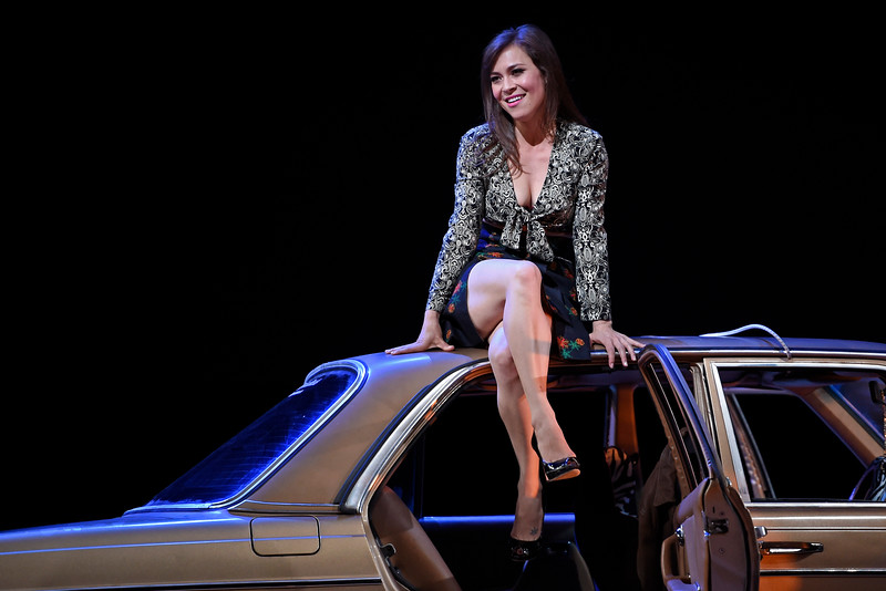 Carmen climbs atop a coupe to better display her — ahem — attributes. (Jose Carlos Fajardo/Bay Area News Group)