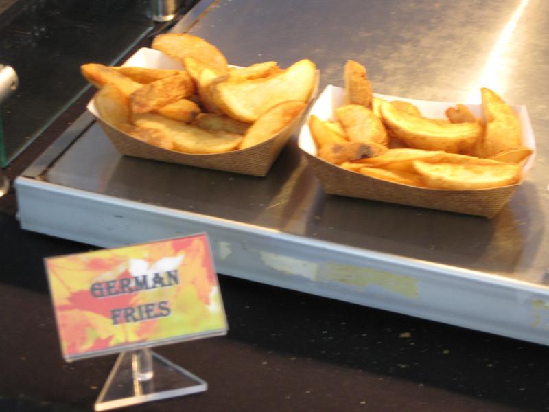 """The """"German Fries"""" were just seasoned wedge fried potatoes."""
