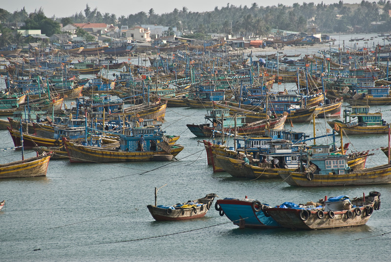 Lots of boats at a fishing village in Mui Ne, Vietnam