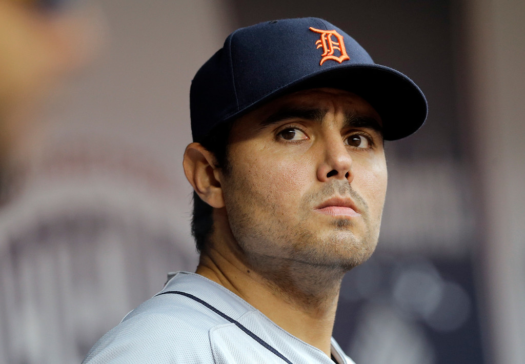 . Detroit Tigers relief pitcher Joakim Soria stands in the dugout in the ninth inning of Game 2 in baseball\'s AL Division Series against the Baltimore Orioles in Baltimore, Friday, Oct. 3, 2014. Baltimore scored three runs against Soria in the eight, and Baltimore won 7-6. (AP Photo/Patrick Semansky)