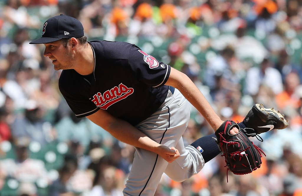 . Cleveland Indians starting pitcher Trevor Bauer throws during the third inning of a baseball game against the Detroit Tigers, Wednesday, May 16, 2018, in Detroit. (AP Photo/Carlos Osorio)