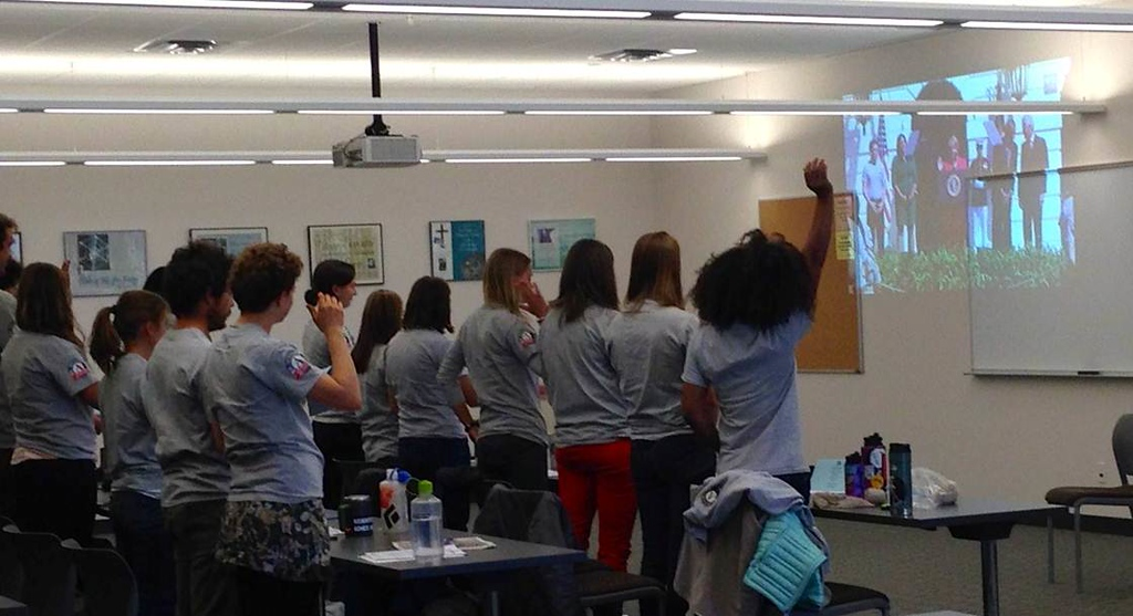 AmeriCorps members take the pledge to celebrate the 20th Anniversary of AmeriCorps in Wyoming. Corporation for National and Community Service Photo.