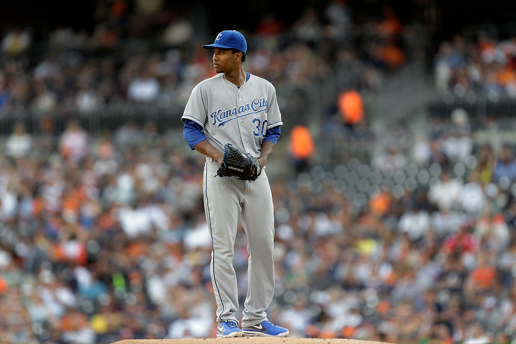 . Kansas City Royals pitcher Yordano Ventura prepares to throw against the Detroit Tigers in the first inning of a baseball game in Detroit, Tuesday, June 17, 2014.  (AP Photo/Paul Sancya)