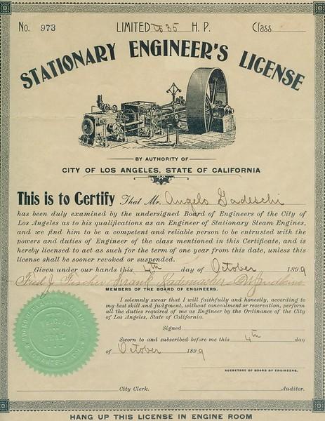 1899, Stationary Engineer's License