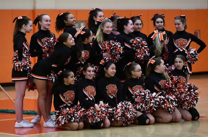 2/15/2019 Mike Orazzi | Staff Terryville High School cheerleaders before the start of Friday night's boys basketball game with Housatonic Regional in Plymouth.
