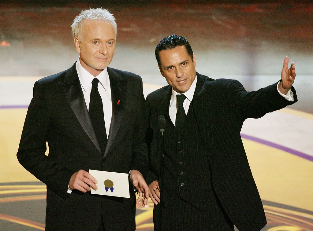 ". Actor Anthony Geary (L) accepts the ""Outstanding Lead Actor In A Drama Series\"" award onstage as Maurice Benard speaks during the 33rd Annual Daytime Emmy Awards held at the Kodak Theatre on April 28, 2006 in Hollywood, California.  (Photo by Kevin Winter/Getty Images)"