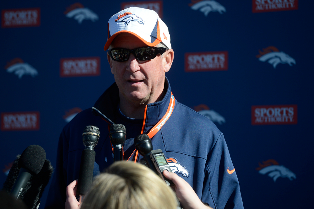 . Denver Broncos head coach, John Fox,  during a press conference after practice at Dove Valley Saturday morning, January 25, 2014. (Photo By Andy Cross / The Denver Post)