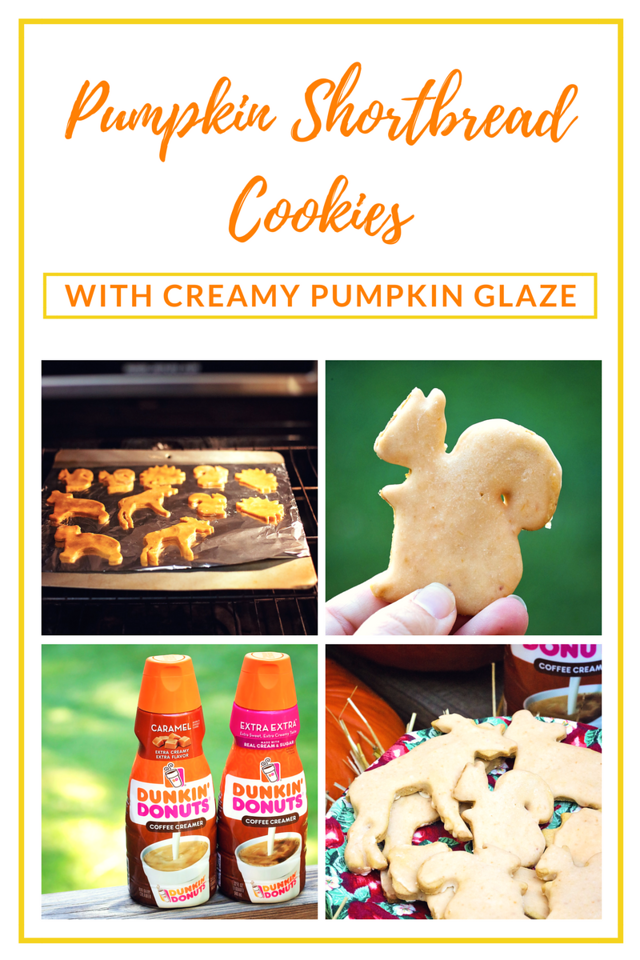 Want an amazing extra, extra creamy recipe? Try my Pumpkin Shortbread Cookies with Creamy Pumpkin Glaze. There are 2 secret ingredients! #ad #DunkinCreamers