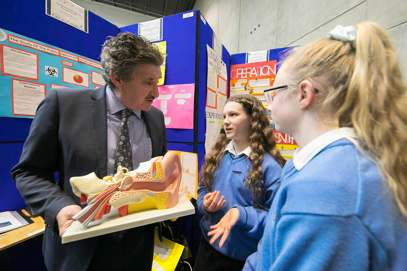 "01/05/2018. SciFest at WIT (Waterford Institute of Technology) at the Arena. Pictured with Minister John Halligan TD are Cassie O'Mahoney and Chloe Duggan from Mercy Secondary School, Waterford with their project ""Comparing Sensory perspective as you grow older"". Picture: Patrick Browne"