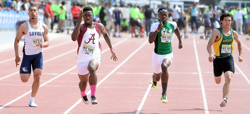 . Invitational during the Mt. SAC Relays in Hilmer Lodge Stadium on the campus of Mt. San Antonio College in Walnut, Calif., on Saturday, April 19, 2014. 