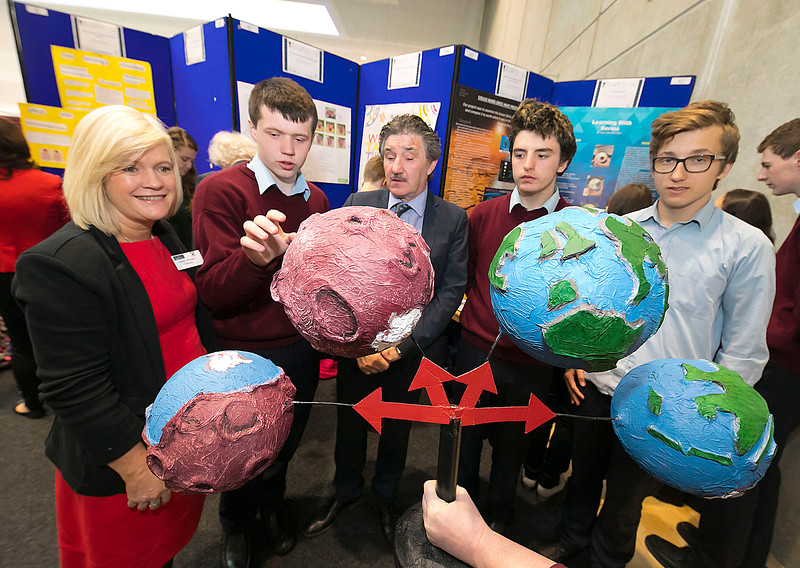 """01/05/2018. SciFest at WIT (Waterford Institute of Technology) at the Arena. Pictured with Dr. Sheila Donegan Calmast WIT and Minister John Halligan TD are Adham Monahan, Ryan Kidby and Michal Wilkowski  from from CBS New Ross with their project """"Could Mars have sustained life"""". Picture: Patrick Browne. Picture: Patrick Browne"""