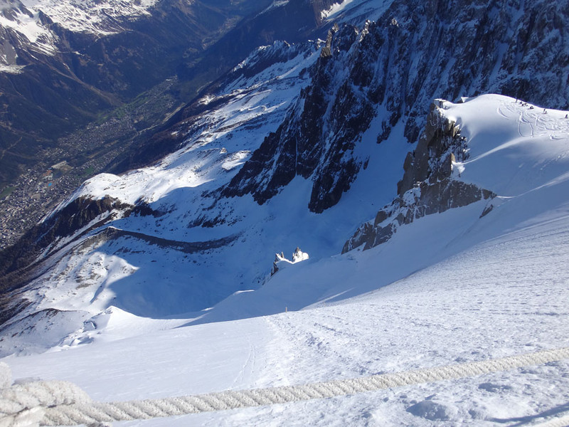 If you slip, it's 6,000 feet down to Chamonix :)