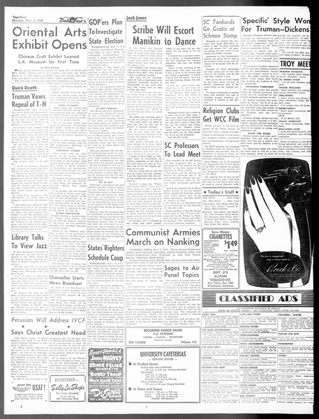 Daily Trojan, Vol. 40, No. 41, November 08, 1948
