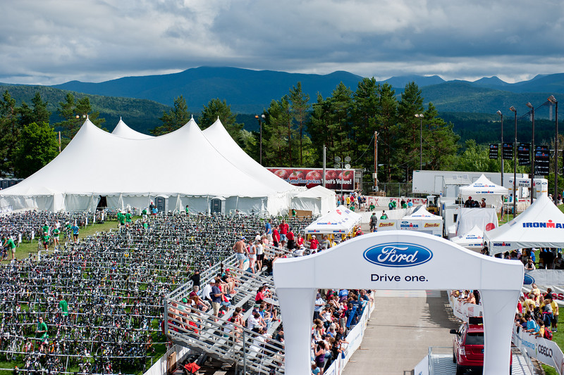 IronmanLP-46 - The finish area on the 400M Lake Placid Olympic Oval. The transition area is to the left. 3000 very expensive bicycles in one place.  Security was as tight as an airport!