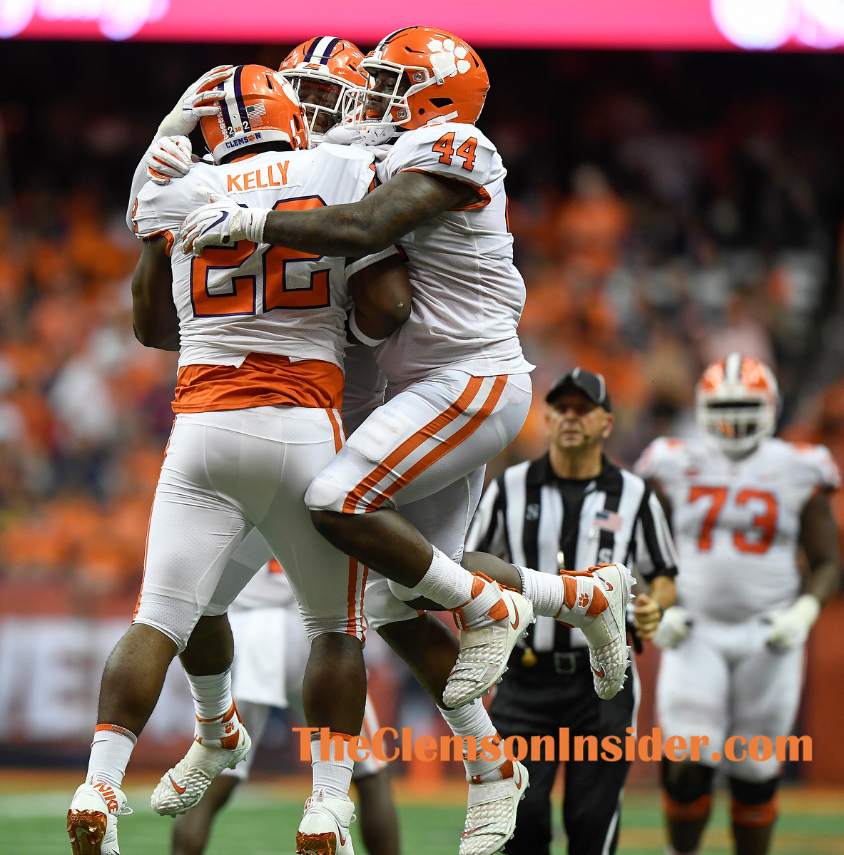 Clemson's defense celebrates after a defensive stop against Syracuse during the 3rd quarter at the Dome in Syracuse, N.Y. Saturday, September 14, 2019. Bart Boatwright/The Clemson Insider